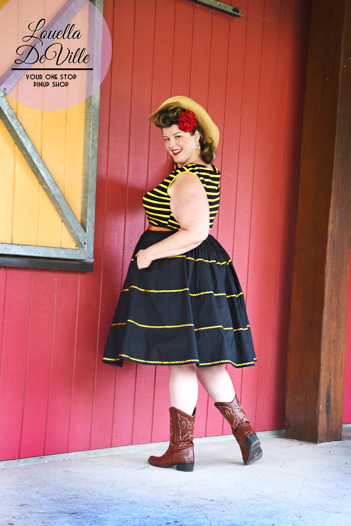 Louella DeVille Saddle Top Yellow Black Stripe