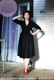 Louella DeVille Josephine Wrap Dress 3/4 Sleeve Black