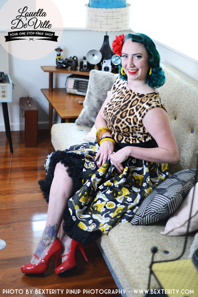 Louella DeVille Golden Cranes Bettie Skirt