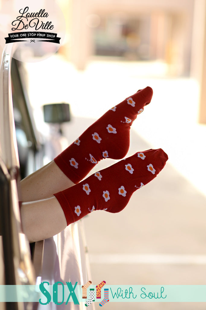 Red Fried Egg Sox Socks