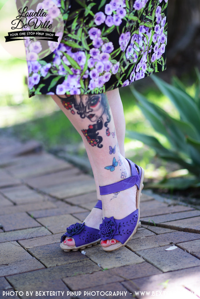 1940s Leather Virginia Sandals Violet