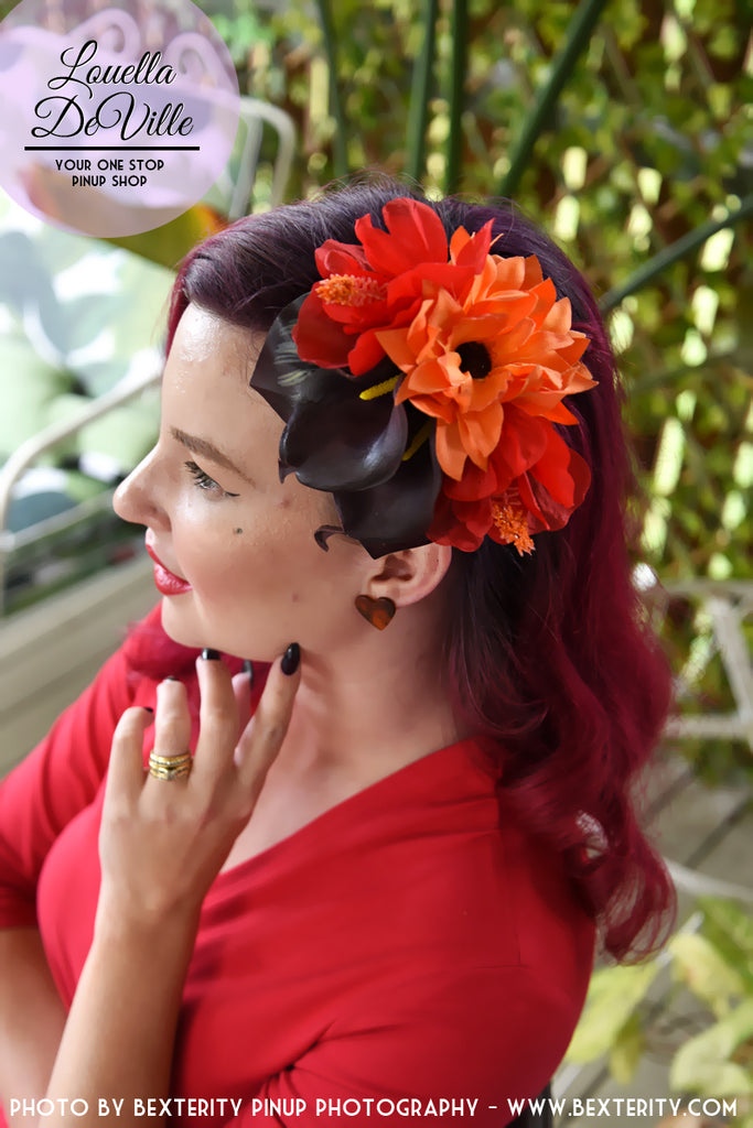 Louella DeVille Cheerful Tiki Fascinator Purple/Orange