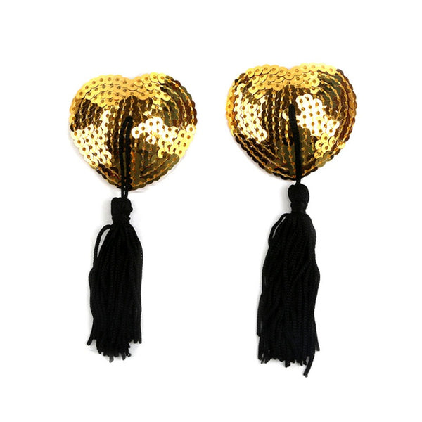 Heart Shaped Sequined Nipple Tassels Various Colours -2582