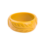 Willow Carved Feather Fakelite Resin Bangle (Various Colours!)