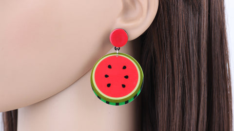 Slay All Day Statement Acrylic Watermelon Earrings