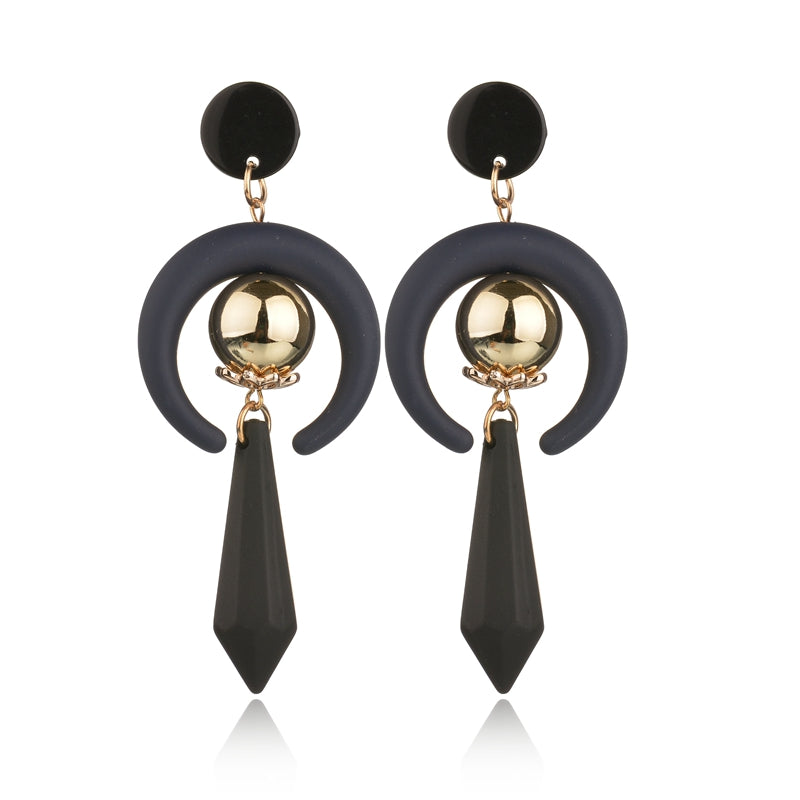 Slay All Day Gothic Dark Moon Drop Earrings