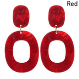 Slay All Day Marble Resin Fashion Rounded Hoop Earrings