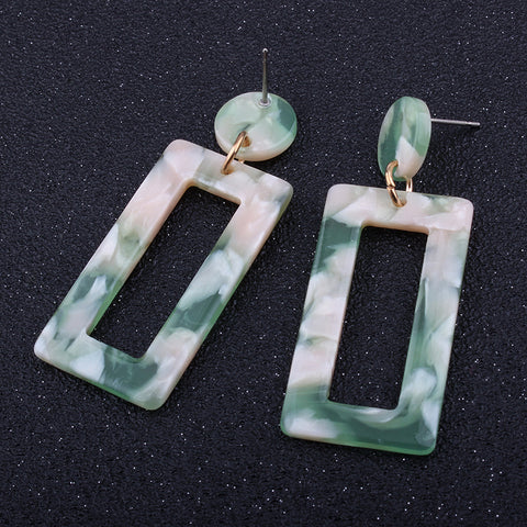 Slay All Day Marble Resin Fashion Square Hoop Earrings