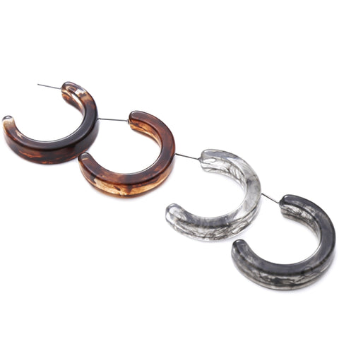 Slay All Day Marble Resin Fashion Semi Hoop Earrings
