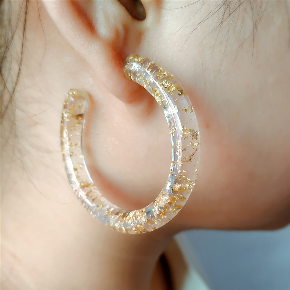 Slay All Day Flossy Gold Confetti Lucite  Hoops
