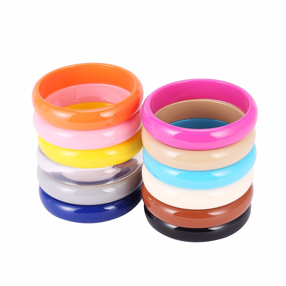bangles mix beautiful brazaletes wholesale mujer colors joias women pulseras fashion resin bracelets