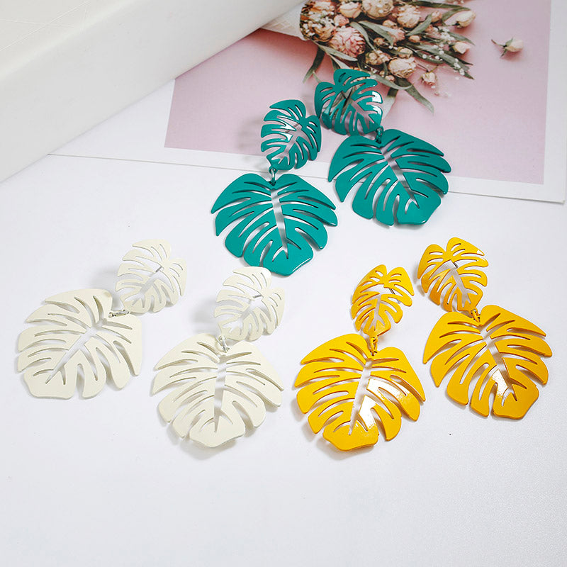 Hawaiian Goddess Large Monstera Leaf Earrings (3 Colours!)