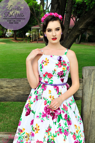 Louella DeVille Flirty Floral Frenchie Sun Dress