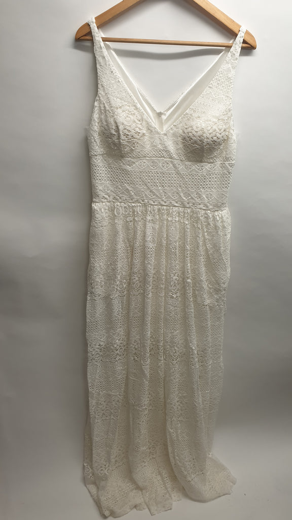 Pre loved white lace maxi dress