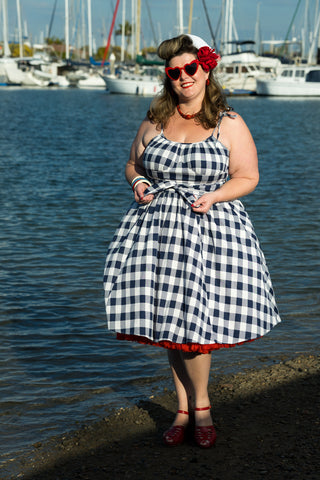 Louella DeVille In The Navy Gingham Sandy Wrap Top