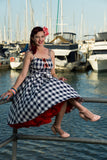 Louella DeVille In The Navy Gingham Bettie Skirt