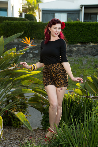 Louella DeVille Into The Jungle High Rise Lucy Leopard Button Shorts