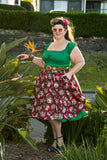 Louella DeVille Burgundy Rose Garden Bettie Skirt