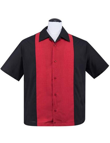 Steady Black & Red Mens Bowling Button Up