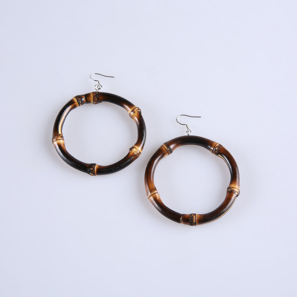 Tiki Time Dark Bamboo Large Hoops