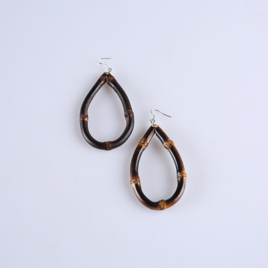 Tiki Time Dark Bamboo Teardrop Earrings