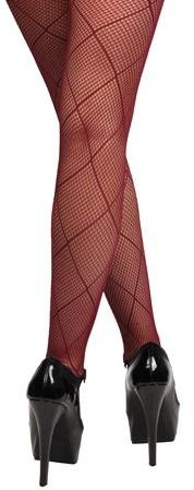 Winter Wine Lace Diamond Fishnet Tights Stockings