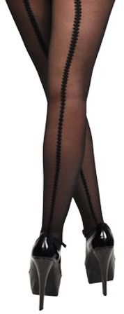 Sheer Black Heart Back Seam Tights Stockings
