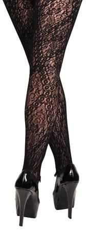 Winter Black Lace Floral Tights Stockings