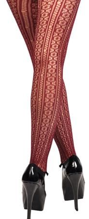 Wine Lace Floral Tights Stockings