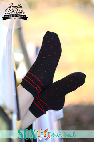 Black/Red Polka Dot Ruffle Sox