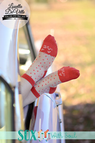 Transparent Red Polka Kitty Sox