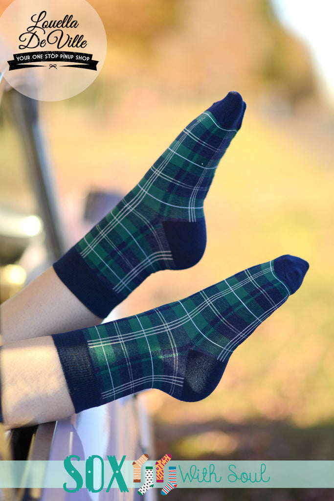 Green Plaid Tartan Sox Socks