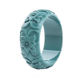 Eileen Carved Flower Bangles (Various Colours)