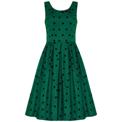 Dolly & Dotty Amanda Scoop Neck Swing Dress Green Polka Dot