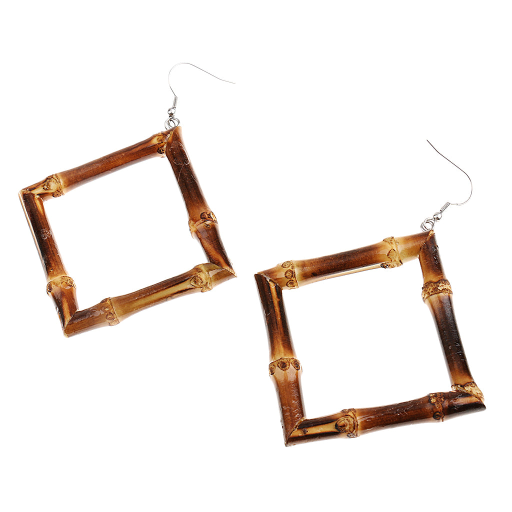 Tiki Time Dark Bamboo Square Earrings (2 Sizes!)