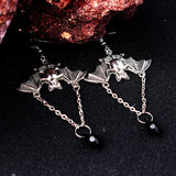Feelin' Spooky Halloween Bat Gem Drop Earrings