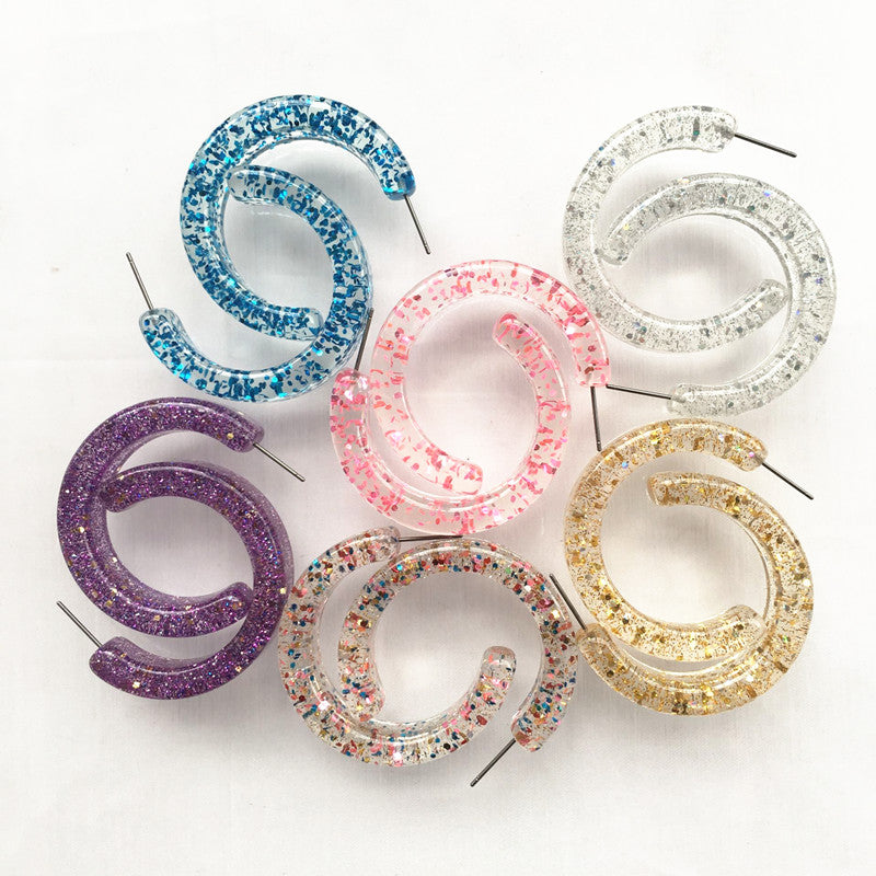 Slay All Day Confetti Glitter Hoops (Various Colours!)