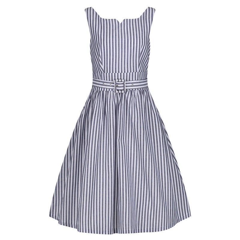 Lindy Bop Delta Navy Stripe Summer Swing Dress