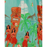 Lindy Bop Delta Tiki Print Teal Swing Dress