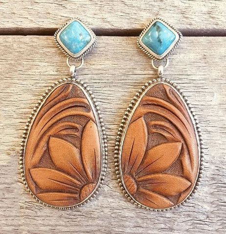 Carved Navajo Style Turquoise Drop Earrings