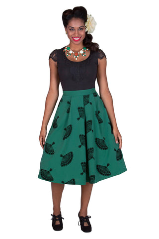 Tatyana Fanny Green Flocked Fans Skirt