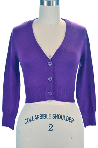 Peggy Sue Cropped PinUp Cardigan Grape