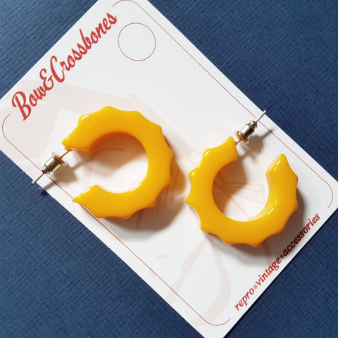 Bow & Crossbones Imogen Fakelite Hoop Earring Sunrise Yellow