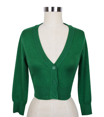 Peggy Sue Cropped PinUp Cardigan Green