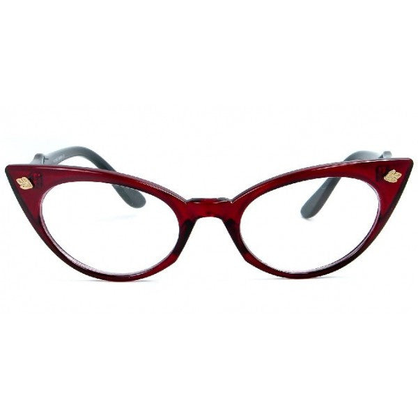 Cindy Coloured Clear Lens Cat Eye Glasses 1595 (Various Colours)