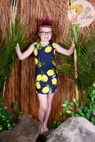 Lil Lulu Retro Navy Lemons Shift Dress