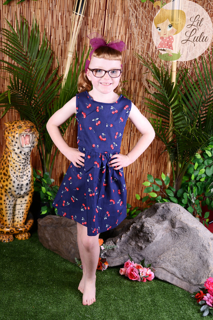 Lil Lulu Retro Navy Cherry Swing Dress