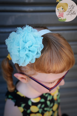Lil Lulu Elastic Lace Rose Headband (Various Colours!)