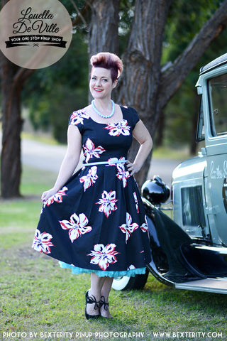 Timeless Black & Red Hibiscus Honey Swing Dress