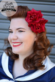 Louella DeVille Handmade Double Roses Red